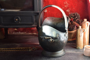 Antique Copper Coal Helmet Scuttle