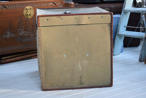 Vintage Square Canvas and Leather Trunk