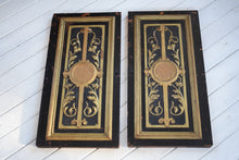 Load image into Gallery viewer, Antique Pair of Black and Gilt Painted Door Panels