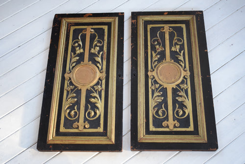 Antique Pair of Black and Gilt Painted Door Panels