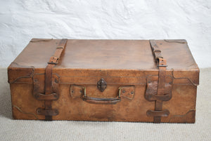 Large Tan Leather Suitcase