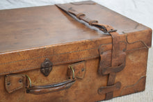 Load image into Gallery viewer, Large Tan Leather Suitcase