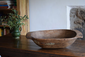 Large Antique English Elm Dough Bowl