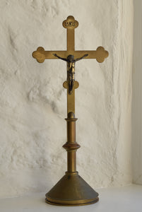 Antique Brass Altar Cross Crucifix
