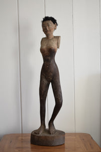 Antique Asian Statue Stick Figure Of Tall Wooden Female Form