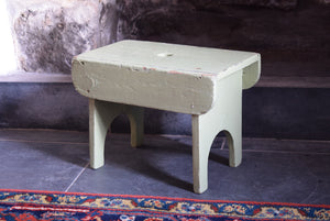Antique Primitive Painted Rustic Footstool