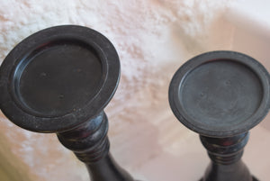 Antique Pair of Tall Ebonised Mahogany Candle Stands