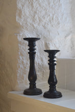 Load image into Gallery viewer, Antique Pair of Tall Ebonised Mahogany Candle Stands