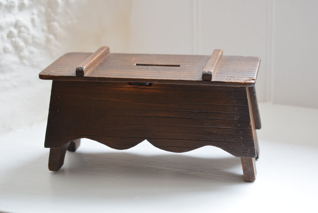 Antique Miniature Coffer Money Box