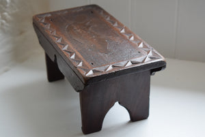 Folk Art Carved Fox Stool