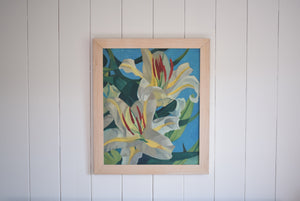 Oil on Board Lilies In Bloom