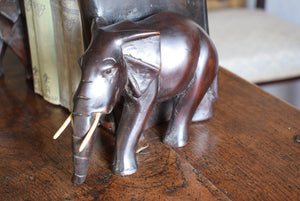 Antique Pair of Ebony Elephant Bookends