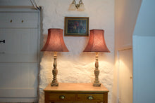 Load image into Gallery viewer, Cream Coloured Painted Wooden Lamps