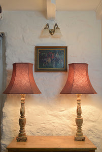 Cream Coloured Painted Wooden Lamps
