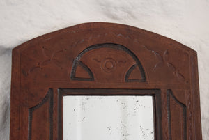 Vintage Hand Tooled Leather Mirror
