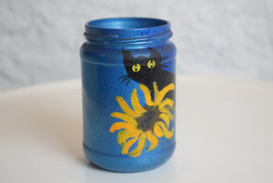 Hand Painted Jar Black Cat