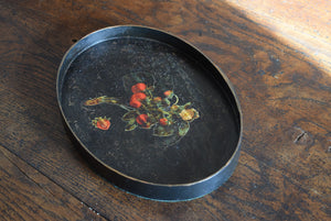 Antique Black Lacquer Tray Decorated with Strawberries