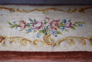 Antique Needlepoint Long Footstool