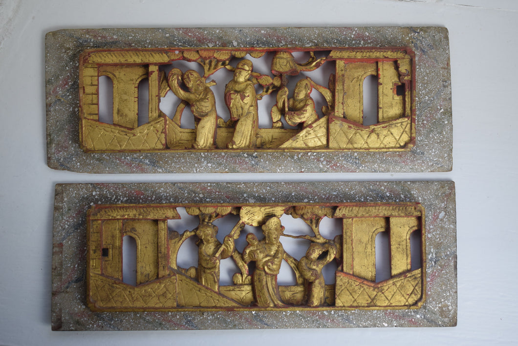 Chinese hand carved wooden panels