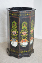 Load image into Gallery viewer, Floral Painted Wooden Waste Paper Bin