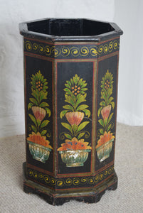 Floral Painted Wooden Waste Paper Bin