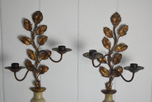 Load image into Gallery viewer, Gilt Metal Candle Sconces