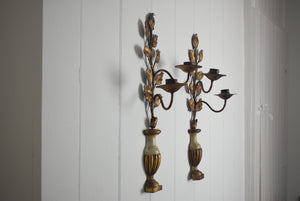 Gilt Metal Candle Sconces