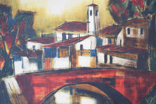 "Load image into Gallery viewer, Leopold Reiser-Vaney ""The Red Bridge"" Oil on Canvas"