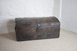 William Millard 19th Century Iron Bound Oak Campaign Trunk