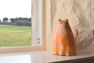 folk art paper mache cat