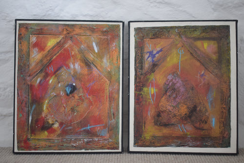Jules Smith Untitled Pair Mixed Media on Canvas
