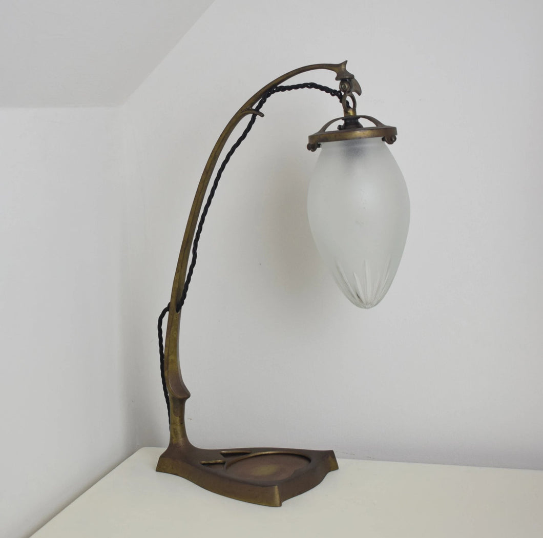Austrian Secessionist Period Brass Adjustable Table Lamp