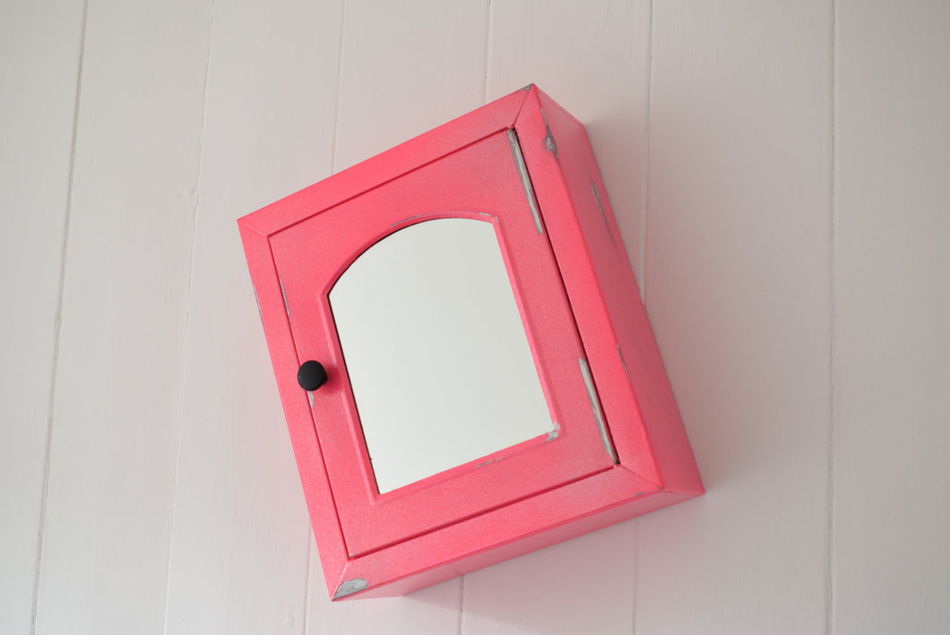 Pink Sparkle Metal Bathroom Cupboard with Mirror