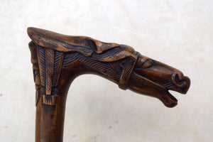 Antique carved wood walking stick