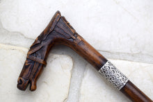 Load image into Gallery viewer, Antique carved wood walking stick