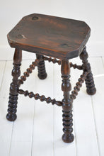 Load image into Gallery viewer, Antique bobbin turned stool