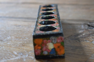 Antique 19th century Islamic Persian Black lacquer Floral Painted Box