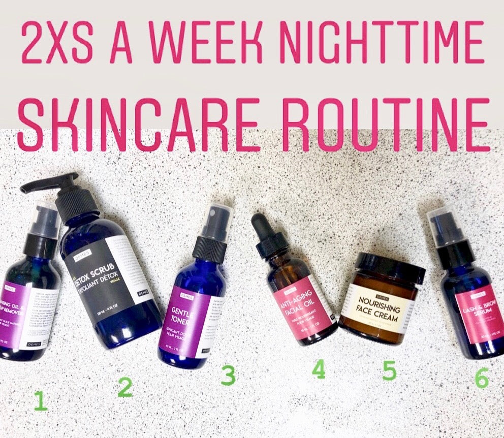 skincare routine cleansing oil, detox scrub, gentle toner, facial oil, nourishing cream, lash serum