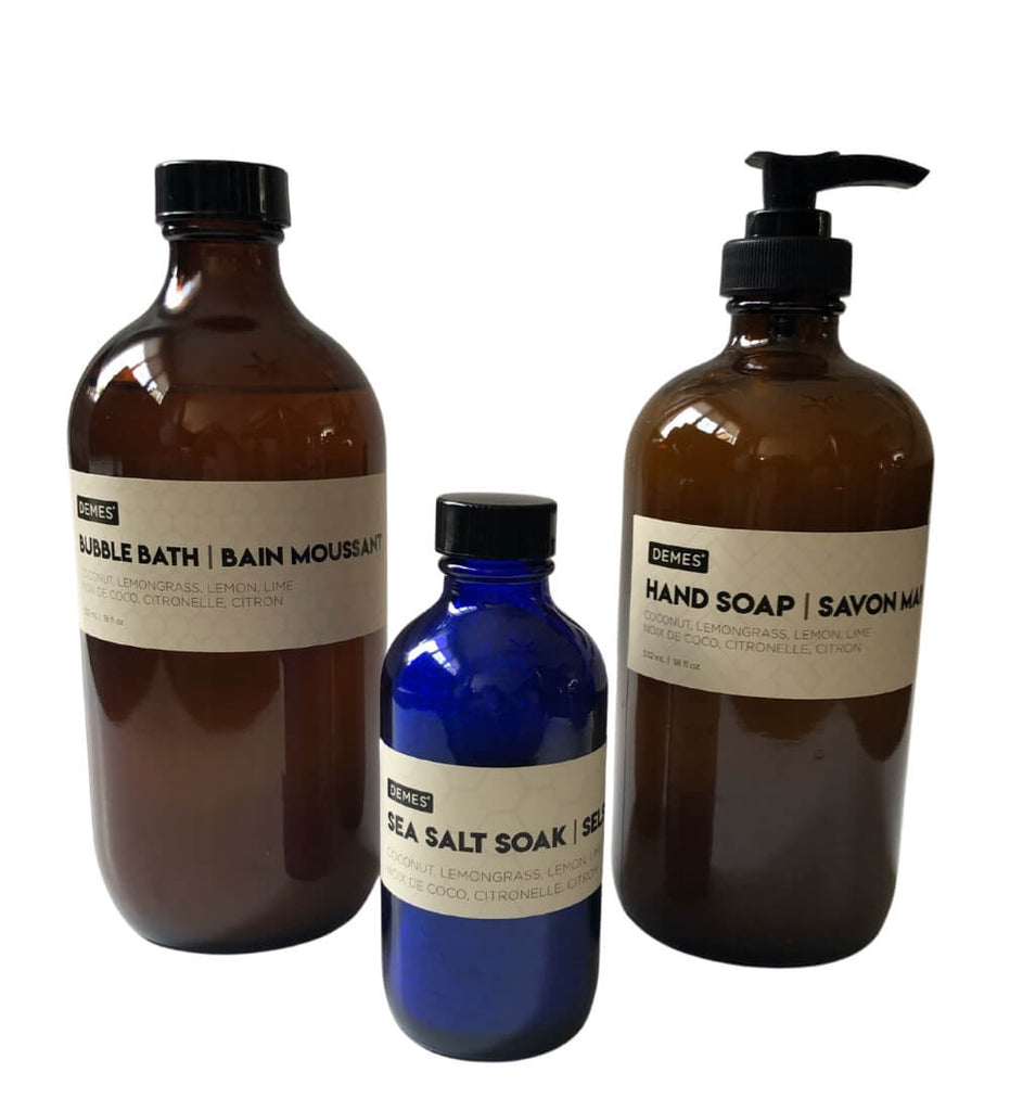 natural bath gift set - bubble bath, sea salt soak, hand soap - plant-based, eco-friendly, cruelty-free