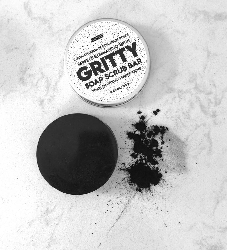 GRITTY body scrub soap bar with pumice stone and activated charcoal