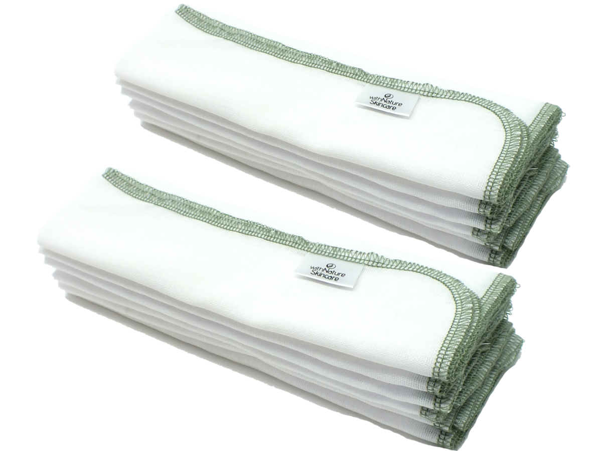 Pure & Gentle Muslin Face Cloths (Pack of 12)