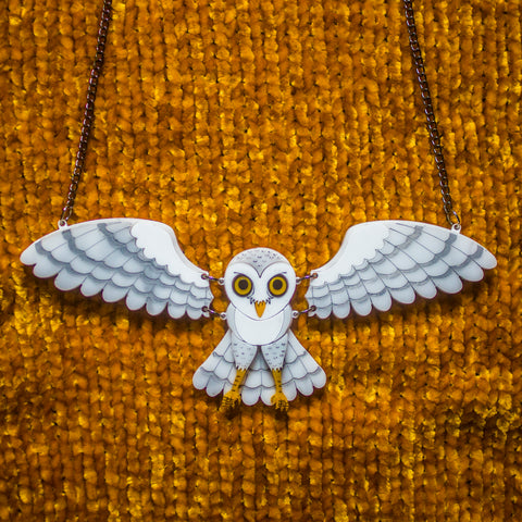 Snowy Owl Statement Necklace