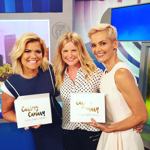 Caring Canary Founder, Georgia Harley, with Studio 10 hosts Sarah Harris an Jessica Rowe
