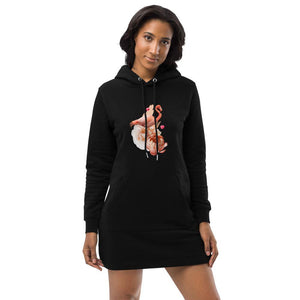 Women wearing black hoodie dress