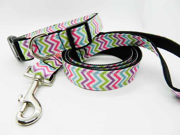 Pastel Chevron Collar and Leash Set