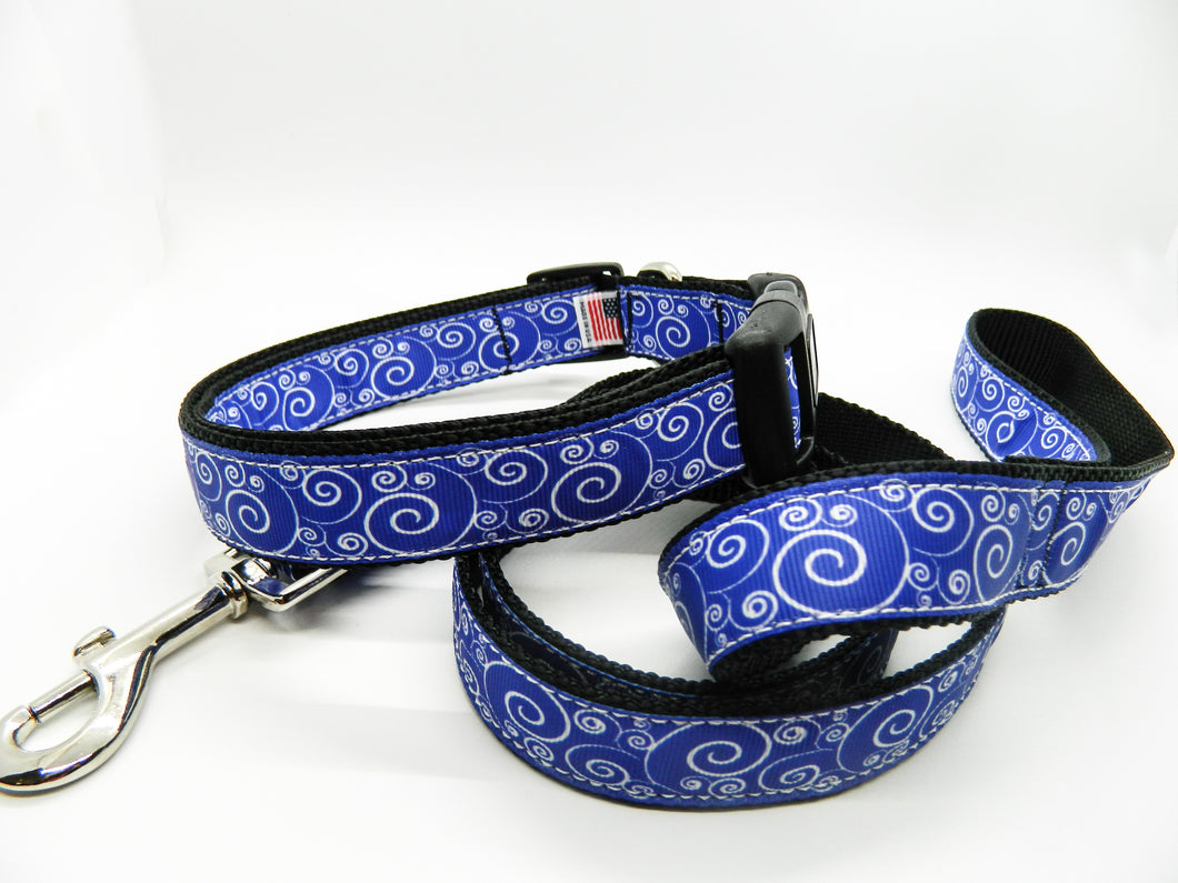 Blue Wave Collar and Leash Set