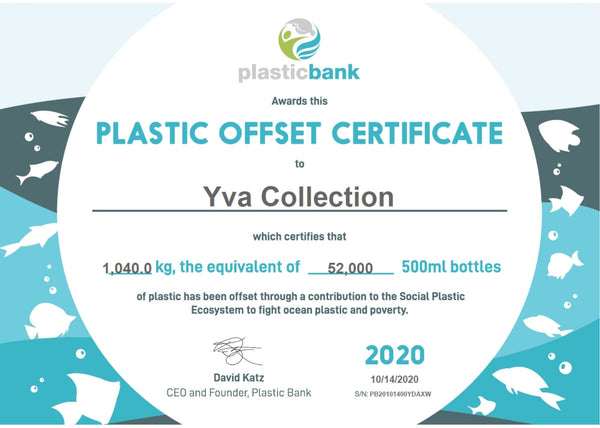 Certificate of Yva Collection Support to Plastic Bank