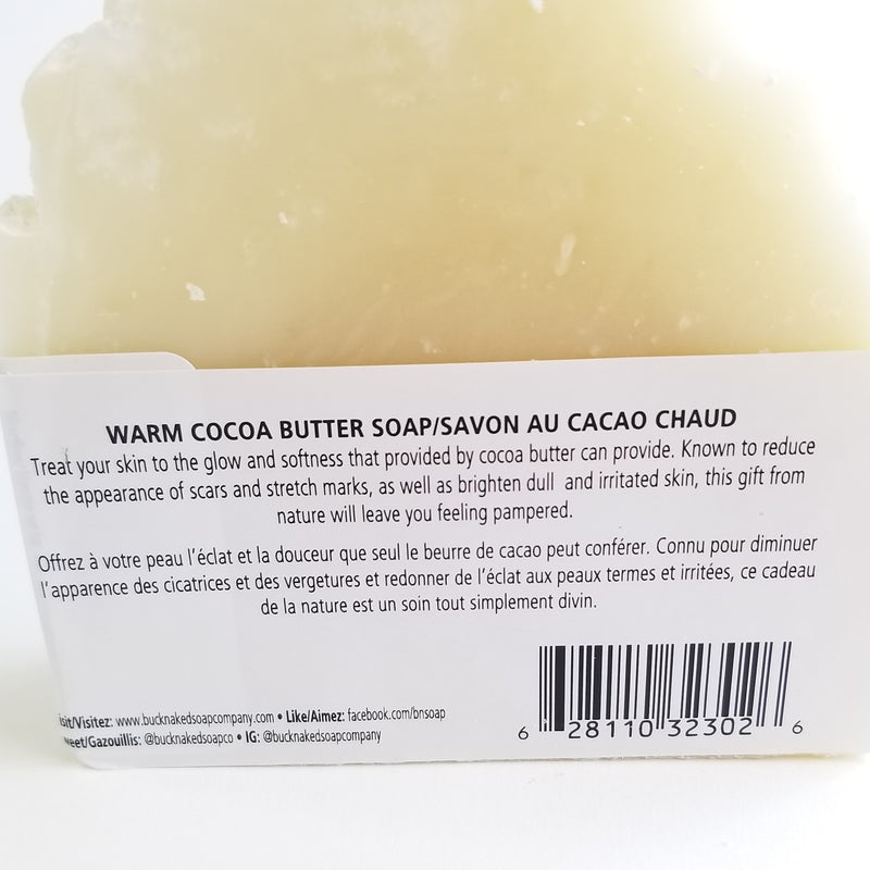 Zero waste warm cacao butter handmade soap bar ingredients