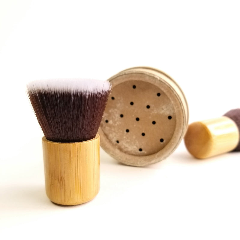 mini bamboo dry shampoo powder brush compostable