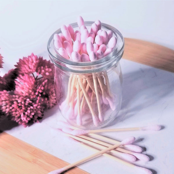 pink bamboo cotton swabs